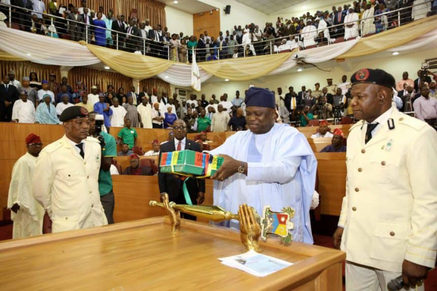 Governor Akinwunmi Ambode presenting the budget to the Lagos State House of Assembly - Databod